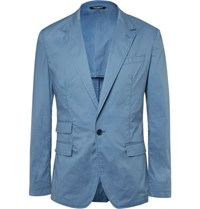 Dolce And Gabbana Blue Slim Fit Garment Dyed Cotton Blazer Blue