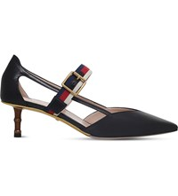 Gucci Pointed Toe Leather Heeled Pumps Blk Red