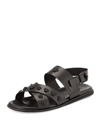 Men's Leather Strappy Sandal Black Versace