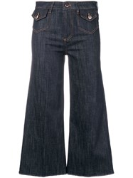 Red Valentino Cropped Wide Leg Jeans Blue