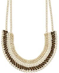 Inc International Concepts Gold Tone Faux Leather Wrapped Collar Necklace Only At Macy's