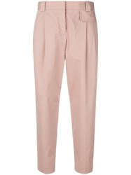 Paul Smith Cropped Pleated Front Trousers Pink And Purple