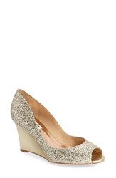 Women's Badgley Mischka 'Awake' Embellished Peep Toe Wedge Pump 3 1 4' Heel