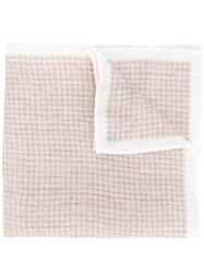 Eleventy Houndstooth Scarf Nude Neutrals