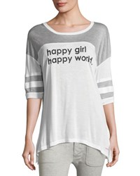 Peace Love World Happy Girl Jersey Tee White