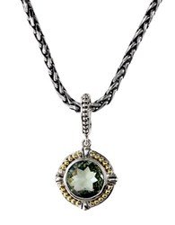 Effy Balissima 18K Yellow Gold Sterling Silver And Amethyst Pendant Necklace Green Amethyst Silver