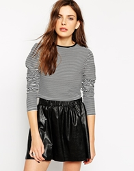 Rock And Religion Long Sleeve Striped Crop Top Blackmulti
