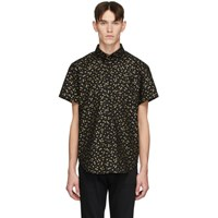 Naked And Famous Denim Black Gold Japanese Flowers Easy Shirt