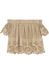 Sea Off The Shoulder Broderie Anglaise Cotton Top Beige