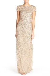 Adrianna Papell Women's Short Sleeve Sequin Mesh Gown Champagne Gold