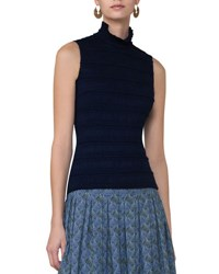 Akris Punto Sleeveless Ruched Mock Neck Top Blue