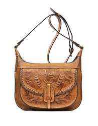 Patricia Nash Burnished Tooled Camila Leather Square Crossbody Bag Brown