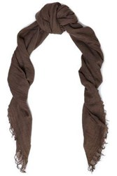 Chan Luu Fringe Trimmed Cashmere And Silk Blend Cashmere Scarf Brown