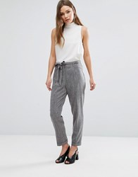 New Look Tie Waist Cropped Trousers Mid Grey