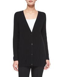 Theory Petrovina Ribbed Long Sleeve Cardigan Black