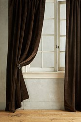 Anthropologie Matte Velvet Curtain Chocolate