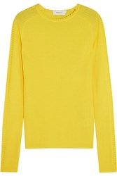 Carven Pointelle Trimmed Ribbed Wool Sweater Bright Yellow
