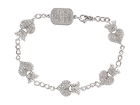King Baby Studio Cz Pave Crowned Heart Motif Bracelet