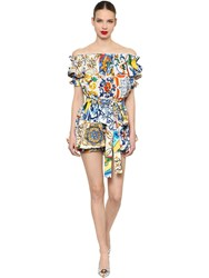 Dolce And Gabbana Off The Shoulder Maiolica Poplin Romper Multicolor