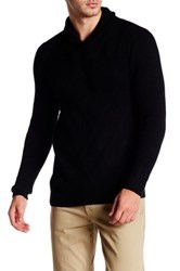 Autumn Cashmere Shawl Collar Toggle Pullover Black
