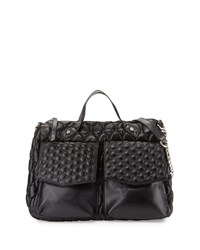 Badgley Mischka Ila Quilted Satchel Bag Black Matte