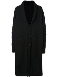 Yohji Yamamoto Single Breasted Coat Nylon Wool Black