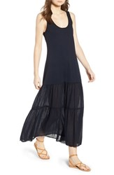 Velvet By Graham And Spencer Tiered Gauze Cotton Tank Dress Cadet