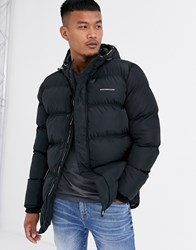 Good For Nothing Long Hooded Puffer Coat In Black