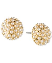 Lonna And Lilly Gold Tone Faux Pearl Cluster Stud Earrings