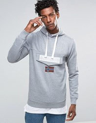 Napapijri Logo Hooded Sweatshirt Med Grey Mel Navy