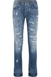 Dolce And Gabbana Distressed Slim Boyfriend Jeans Mid Denim