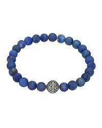 Matte Lapis Beaded Bracelet With Magnetic Clasp John Hardy Silver