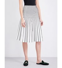 Maje Jibralto Striped Stretch Knit Midi Skirt Ecru