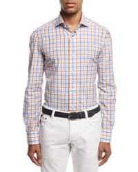 Isaia Windowpane Check Sport Shirt Blue Rust