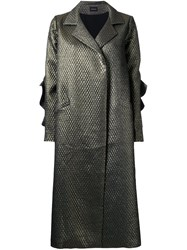 Elaidi Metallic Grey Long Overcoat