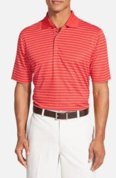 Men's Bobby Jones 'Xh20 Pencil Stripe' Tailored Fit Four Way Stretch Golf Polo Flag Red