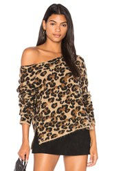 Central Park West Montana Avenue Leopard Sweater Brown