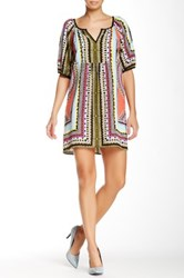 Glam Split Neck Printed Dress Multi