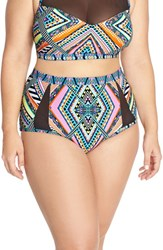 Plus Size Women's Jessica Simpson 'Venice Beach' High Waist Bikini Bottoms