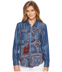 Tribal Long Sleeve Shirt With Print Combo Nile Blue Women's Clothing