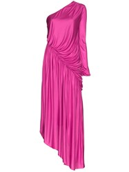Halpern One Shoulder Asymmetric Dress Pink