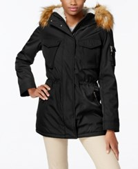 S13 Faux Fur Lined Hooded Down Parka Black