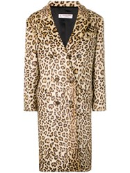 Alberto Biani Leopard Print Double Breasted Coat Nude And Neutrals