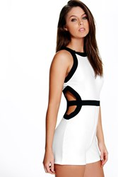 Boohoo Contrast Cut Out Playsuit Ivory