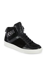 Versace Leather And Suede High Top Sneakers Black Gunmetal