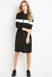 Forever 21 Hooded Stripe Sweatshirt Dress Black White