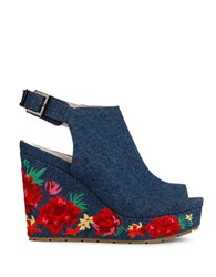 Kenneth Cole Olani Floral Printed Wedge Sandals Blue