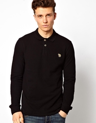 Paul Smith Jeans Zebra Polo Shirt With Long Sleeves Black