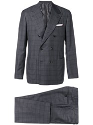 Kiton Double Breasted Two Piece Suit Grey