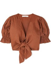 Faithfull The Brand Jamais Cropped Tie Front Linen Top Brown